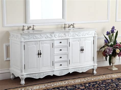 White Bathroom Vanity by Adelina 64 Inch Antique White Bathroom Vanity