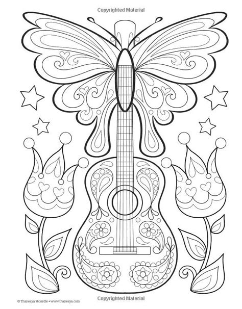 guitar coloring pages for adults guitar peace love coloring book i thaneeya mcardle