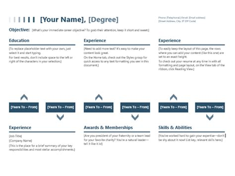 Timeline Resume Template resume timeline office templates