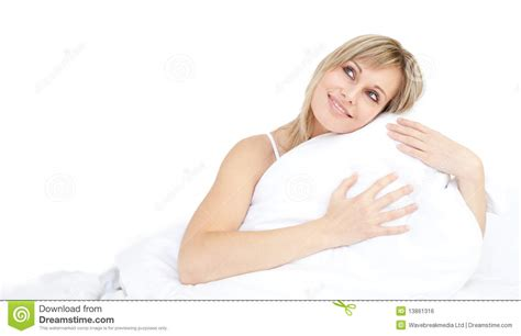 Pillow Hugging by Cheerful Hugging Pillow Royalty Free Stock Image