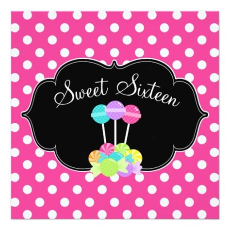 pink polka dot invitations pink polka dot sweet 16 birthday invitations square invitation card