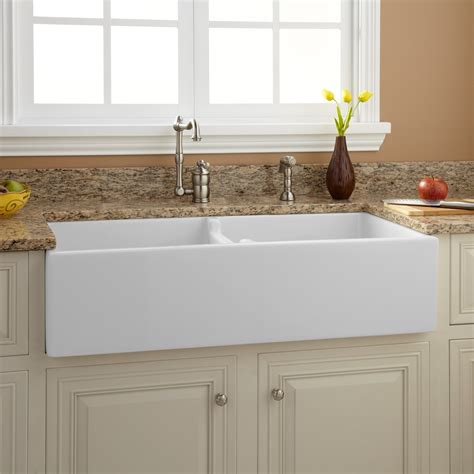 double sinks for kitchens 39 quot risinger double bowl fireclay farmhouse sink white