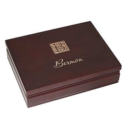 B394 Wine monogram rosewood finish card box executive gift