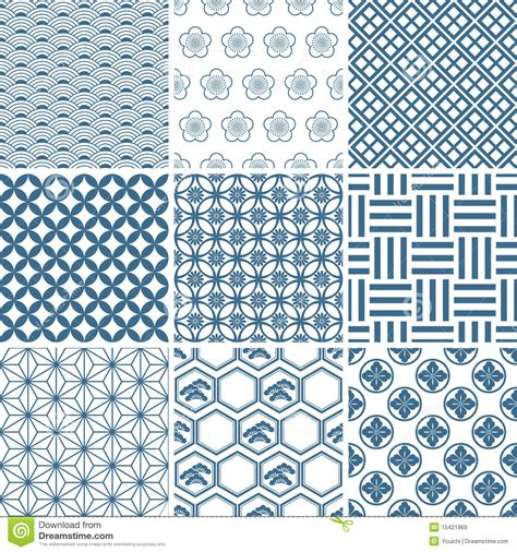 motif to pattern japanese traditional pattern set stock vector