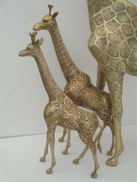 Giraffe Furniture by Brass Giraffe Family Sculpture At 1stdibs