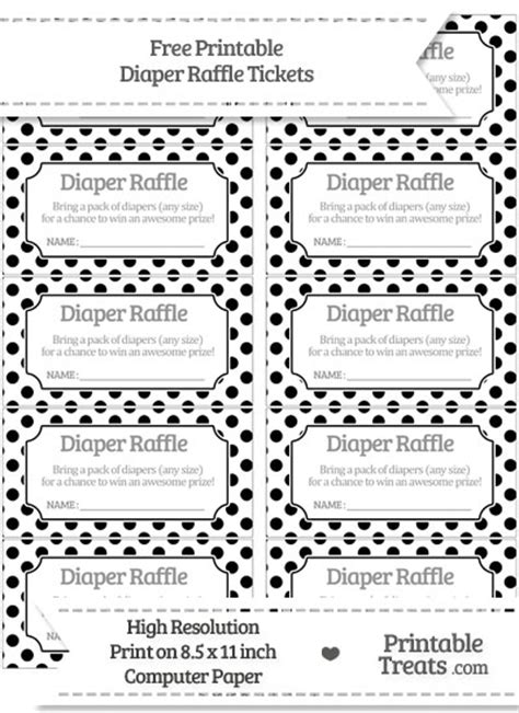 printable chance tickets free black polka dot diaper raffle tickets printable
