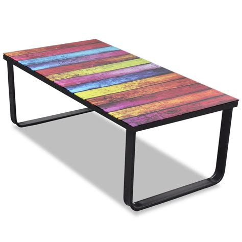 colorful coffee tables colorful glass coffee table with rainbow printing