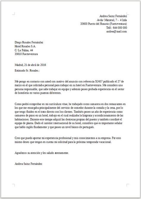 Modelo De Carta De Presentaci N De Un Curriculum ejemplo de carta de presentaci 243 n para hosteler 237 a