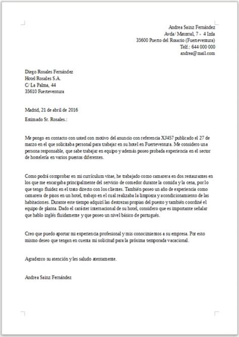 Modelo De Carta De Presentacion Que Acompaña Al Curriculum Vitae Ejemplo De Carta De Presentaci 243 N Para Hosteler 237 A