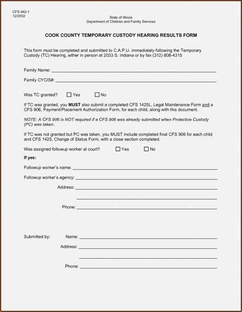 printable temporary guardianship form form resume