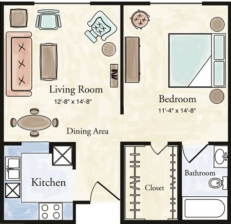 one room apartment floor plans independent living one bedroom apartment floor plans