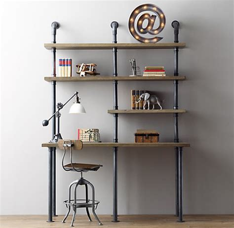 Shelving With Desk by Industrial Pipe Desk And Shelving Stylishly Industrious