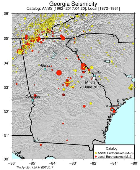 seismic map usa widely felt earthquake shakes augusta temblor net
