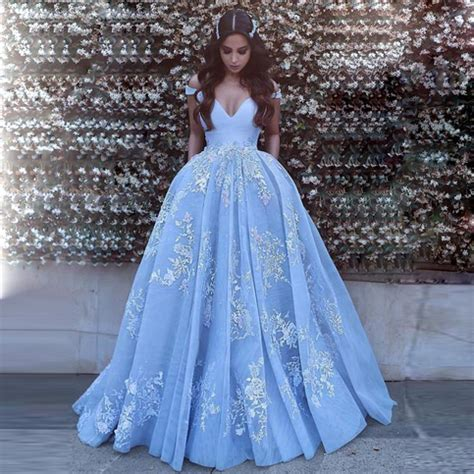 light blue off the shoulder dress gorgeous light blue off the shoulder ball gown prom dress