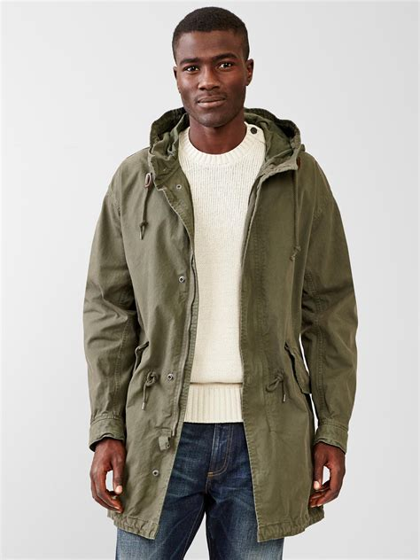 gap fishtail parka jacket in green for new army green lyst
