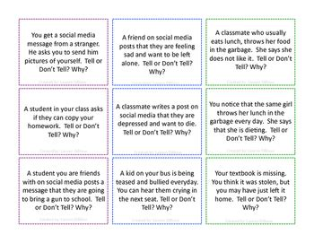 Tell Or Don T Tell Scenarios For High School Students By