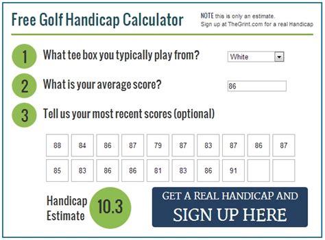 calculate golf handicap world  printable  chart