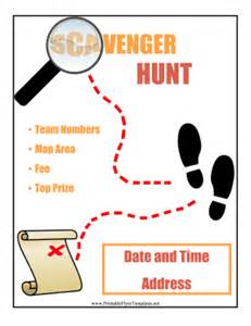 template for scavenger hunt scavenger hunt flyer