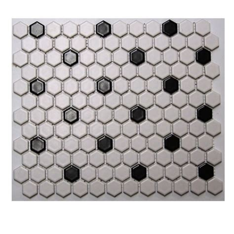 satinglo hex white black ceramic floor tile at lowes