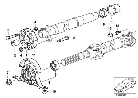 diagram of drive shaft original parts for e46 330xd m57 touring drive shaft
