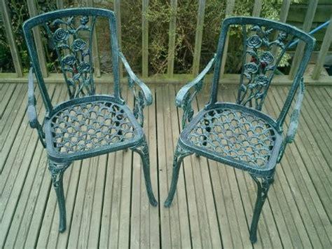 metal cast aluminium garden carver chairs  rose antique