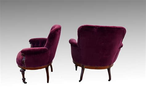Comfortable Overstuffed Chairs Pair Of Barrel Front Upholstered Overstuffed Chairs