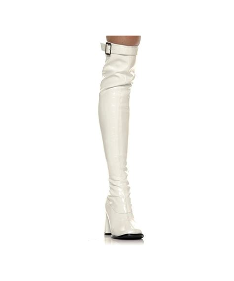 go go thigh high white boots costume shoes