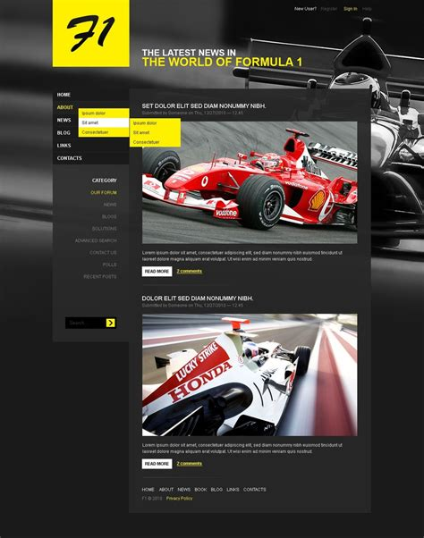 motorsport templates car racing psd template 50363