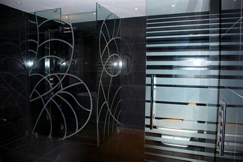 Bathroom Color Idea by Etched Glass Shower Doors