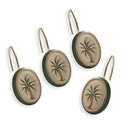 palm tree shower curtain hooks buy palm tree shower curtain hooks set of 12 from bed