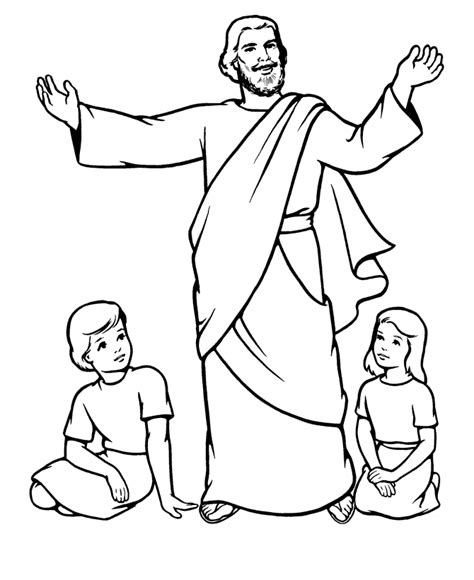 Coloring Pages Of Jesus With Children Coloring Home Coloring Page Of Jesus