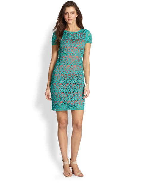 Lolly Dress elie tahari lolly dress in green teal coral lyst