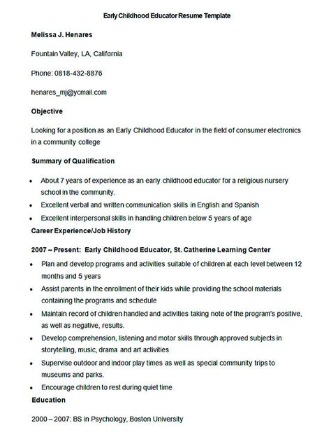 early childhood education resume objective preschool