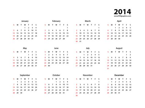 simple calendar template 2014 simple calendar 2014 vector eps psdgraphics