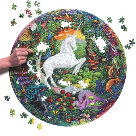 Eeboo Unicorn Garden 500 Piece Round Puzzle Circular Jigsaw Puzzles
