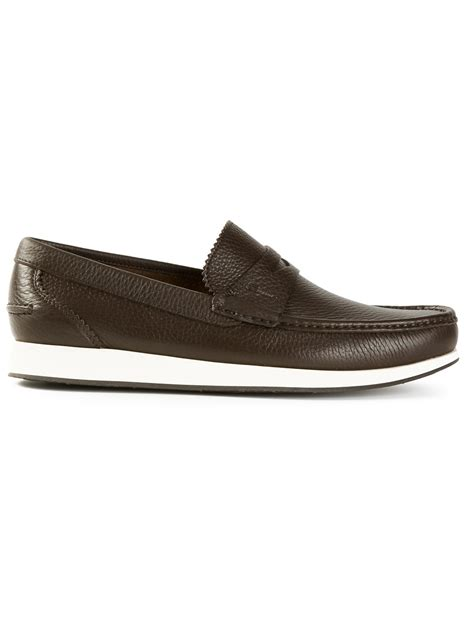 loafers for white ferragamo white sole loafers in brown for lyst