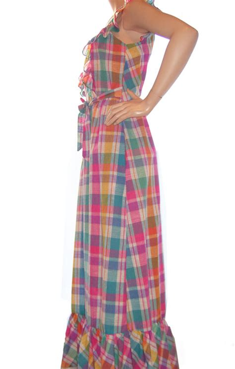 Plaid Pinafore Dress vintage 70 s rainbow plaid pinafore dress hippie couture