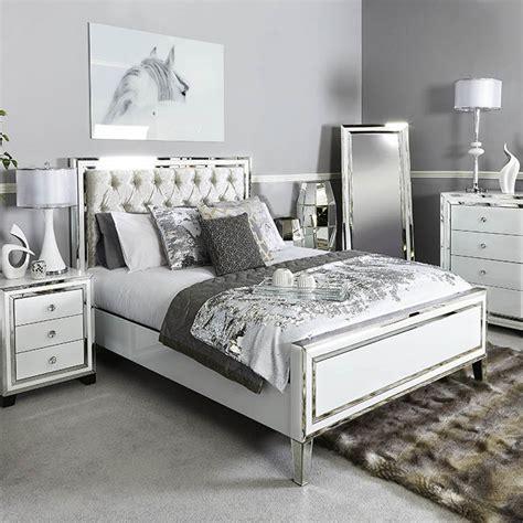 mirrored bed frame merrick white glass mirrored diamante king bedframe
