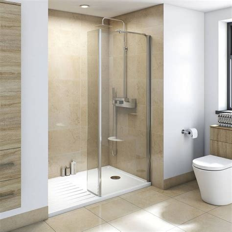 8mm walk in recess shower enclosure pack 1600 x 800 with