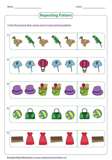 pattern activities stage 2 pattern worksheets