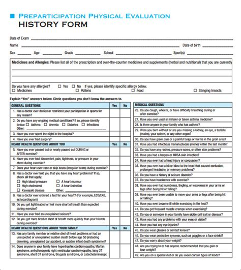 Physical Checklist Template Physical Exam Template 8 Download In Documents In Pdf Psd Word