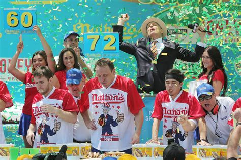 contest record chomp chion chestnut breaks weiner wolfing record at famed coney island