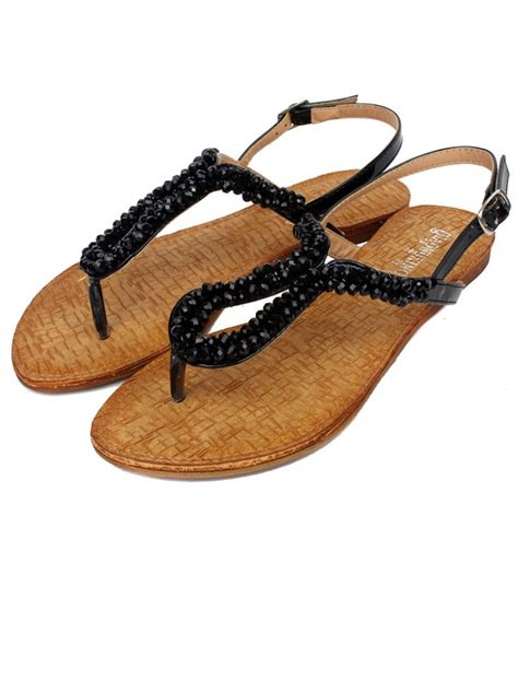 beaded flat sandals sale belt buckle beaded black flat sandals