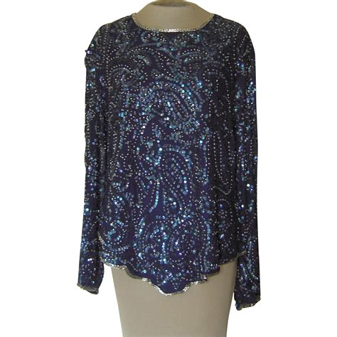blue beaded top vintage silk blue sequined and beaded top by vogue