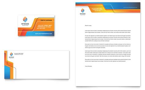 hvac business card letterhead template design