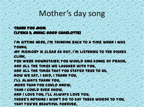 s day lyrics mother s day