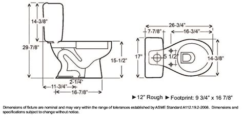 Toilet Plumbing Size by Toilet Dimensions Search Dimensions