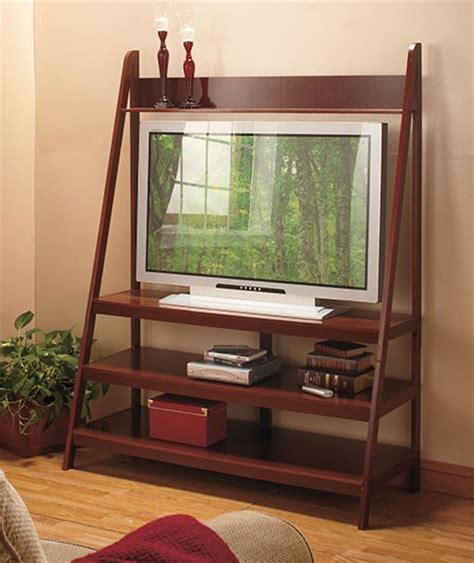 walnut ladder tv stand wooden entertainment flat screen