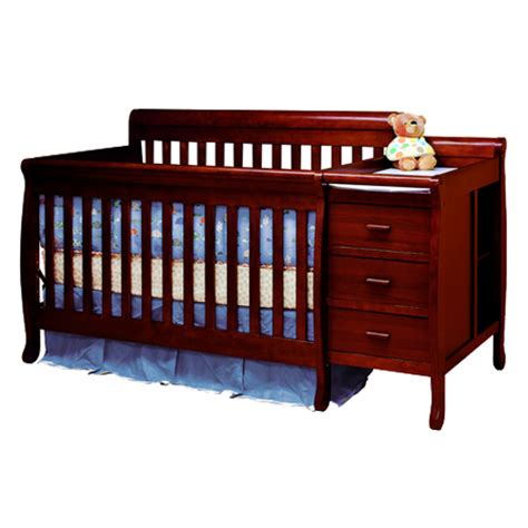 Crib With Changing Table And Drawers Convertible 3 1 Crib With Changing Table Equipped With 2 Drawers And 2 Unit Shelves