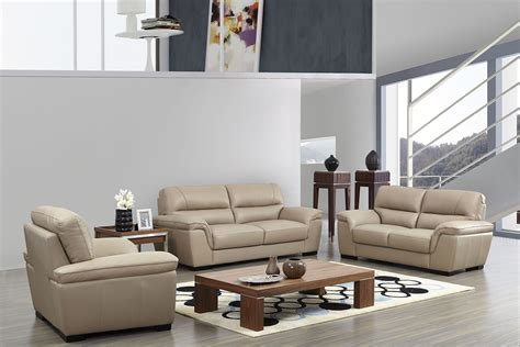 Contemporary Beige Leather Stylish Sofa Set With Wooden Italian Living Room Set